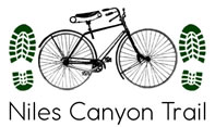 graphic with bike and footprints with title Niles Canyon Trail
