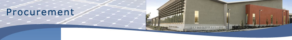 Purchasing - photo showing solar panels and castro valley library.