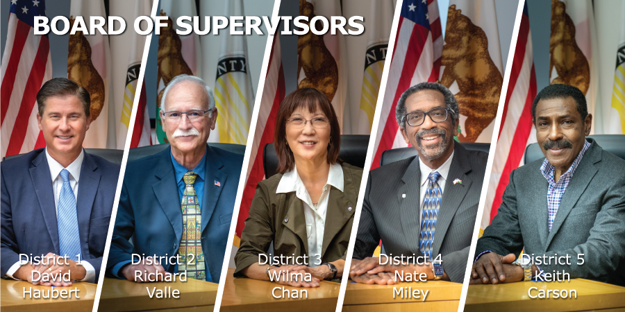 Photo collage of the Board of Supervisors showing: David Haubert-District 1, Richard Valle-District 2, Wilma Cha-District 3, Nate Miley-District 4, Keith Carson-District 5.