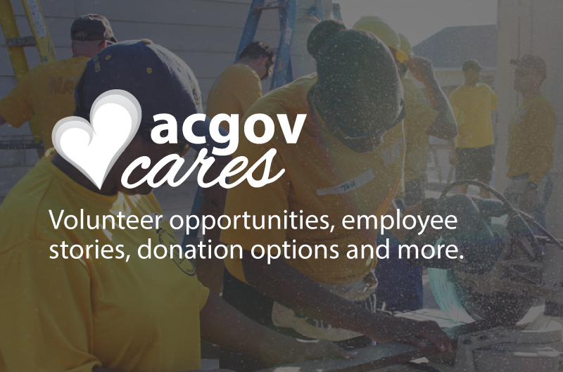 ACGOV Cares volunteer opportunites, employee stories, donation options and more.
