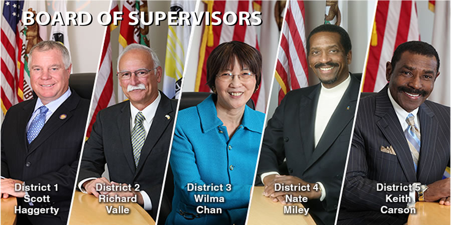 Photo collage of the Board of Supervisors showing: Scott Haggerty-District 1, Richard Valle-District 2, Wilma Cha-District 3, Nate Miley-District 4, Keith Carson-District 5.