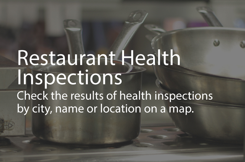 Photo shows clean pots and pans. Caption: Restaurant Health Inspection. Check the results of health inspections by city, name or location on a map.