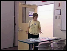 Video capture shows a voter arriving at an empty polling location.
